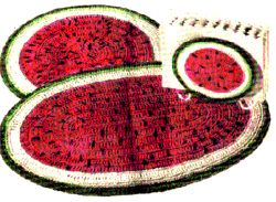 Watermelon Hot Plate Mats & Napkin Holder Crochet Pattern
